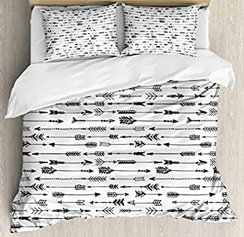 Ambesonne Tribal Duvet Cover Set Chevron Rustic Pattern Arrows Sketchy Art Print Decorative 3 Piece Bedding Set with 2 Pillow Shams King Size White Charcoal