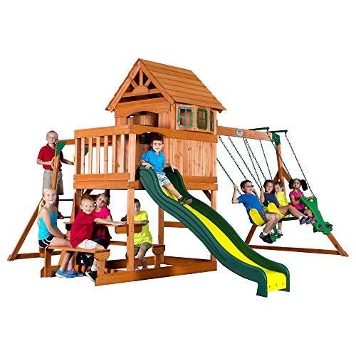 Backyard Discovery Spielturm Holz Springboro | Stelzenhaus für Kinder mit Rutsche, Schaukel, Sandkasten und Picknicktisch | XXL Spielhaus für den Garten