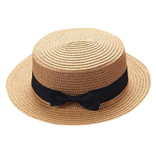ZARLLE Sombrero De Paja ala Ancha Paja Bowknot Transpirable Sombrero Sombreros para El Sol del Verano Retro Viajes Sombrero Gorra Visera De Sol Playa De NatacióN