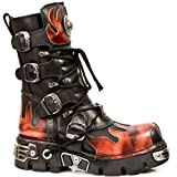 New Rock Newrock 591-S1 Red Flame Metal Black Leather Heavy Punk Gothic Boots 8