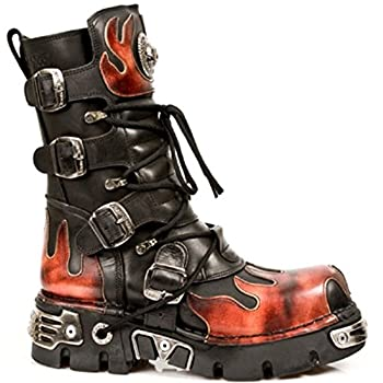 New Rock Newrock 591-S1 Red Flame Metal Black Leather Heavy Punk Gothic Boots 7