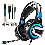 Gaming Headset with Microphone, 7.1 Stereo Surround Sound Wired Over...