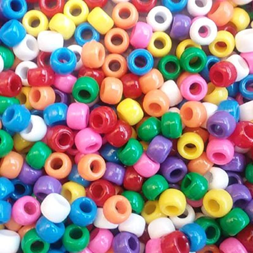 Rainbow Sprinkles Multicolor Mix Plastic Craft Pony Beads, 6 x 9mm, 500 Beads