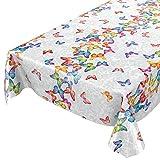 ANRO Wachstuch Tischdecke abwaschbar Wachstuchtischdecke Wachstischdecke Schmetterlinge Silber Bunt 100x140cm