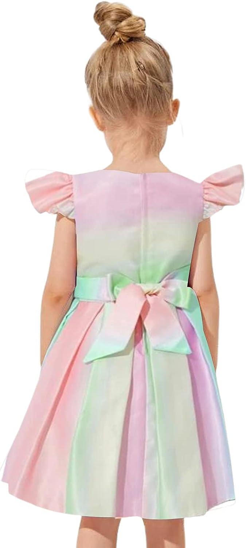 Flower Girl Dress A-line Sleeveless Bow Pageant Princess Party Wedding Bridesmaid Dress (0-6T)