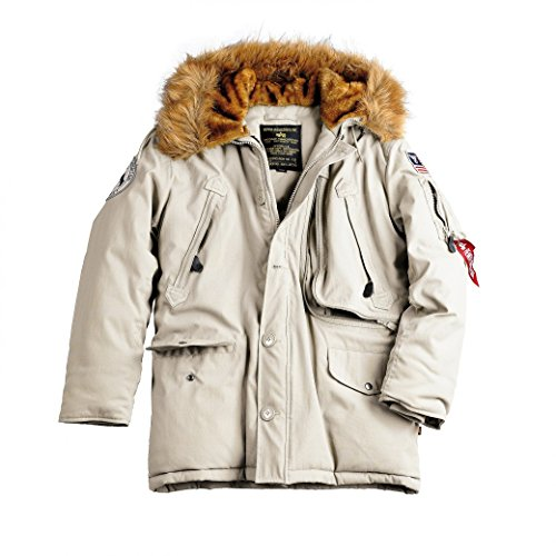 Alpha Industries Herren Parkas POLAR JACKET Winterjacke- Gr. S, Off White