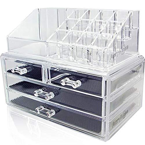 Acryl Aufbewahrung Schminke Schminkpinsel Aufbewahrung-Kryllic Aufbewahrungsbox Organizer Schminke Badorganizer 4 Schubladen Kosmetik Aufbewahrung Make Up Organizer Transparent