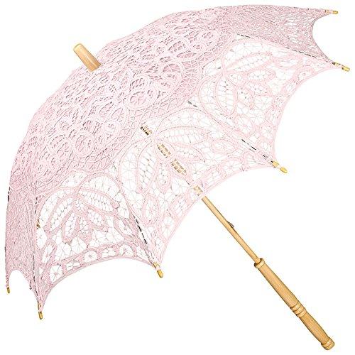 VON LILIENFELD Hochzeitsschirm Brautschirm Vivienne Battenburg Spitze Deko Sonnenschirm Accessoire rosa pastellrosa