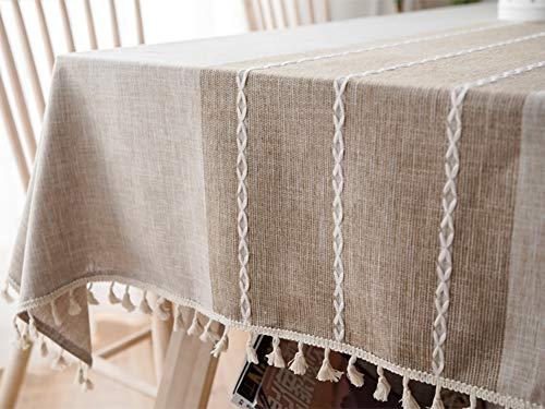 Lanqinglv Quaste Tischdecke 140x240 Abwaschbar Baumwolle und Leinen Tischtuch Beige Tischdecke Rechteck Couchtisch