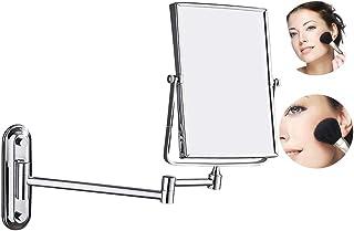 両面化粧鏡 壁付け、ウォールマウントバニティミラー3倍拡大鏡 360°回転シェービングミラースクエアミラー