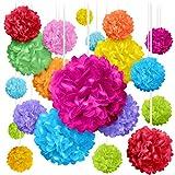 20 Colorful Pom Poms for Birthdays, Parties...