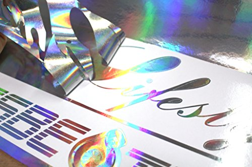 (EUR 29,49/m2) 0,07 mm plotterfolie Oilslick hologram zilver glitter auto effect folie sticker