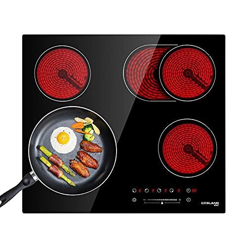 Gasland Chef CH604BF Placa de Cocción Vitrocerámica de 60cm, Placa de Cocina Eléctrica Integrada - Placa (6600W, 4 Zonas, Negra, Empotrada, Panel Táctil)