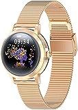 Smart Watch Fitness Tracker con monitor de ritmo cardíaco y sueño IP68 impermeable reloj de fitness con podómetro compatible con teléfonos Android e iOS, color plateado y dorado