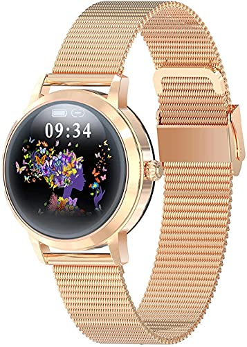 JSL Smart Watch Fitness Tracker con monitor de ritmo cardíaco y sueño IP68 impermeable reloj de fitness con podómetro compatible con teléfonos Android e iOS, color plateado y dorado