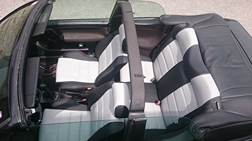 seatcovers by k-maniac Sitzbezüge Golf 3 Cabrio Vordersitze Rückbank Sitzbezug Ledersitze schwarz-grau