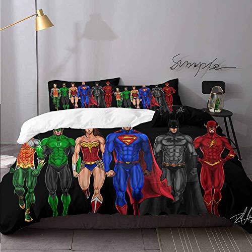 Kids Comforter Cover SDX Justice League Fan Art I Decorative 3 Piece Bedding Set with 2 Pillow Shams Bedding 3 Piece Duvet Cover Set Queen