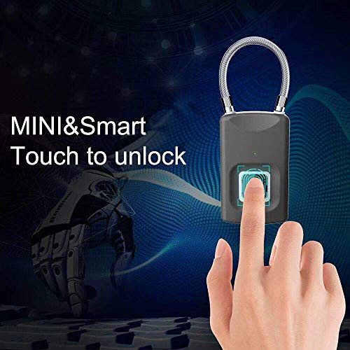 Smart Biometric Thumbprint Door Padlocks Rechargeable Door Lock Fingerprint Smart Padlock USB Keyless Quick Unlock