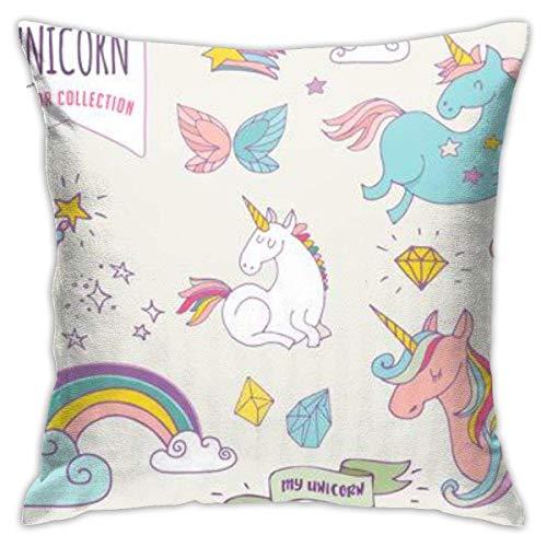 chenjian Colección Unicon Rainbow Fairy Wings Stars iti Funda de almohada, impresión de doble cara, funda de almohada con cremallera oculta, 18.