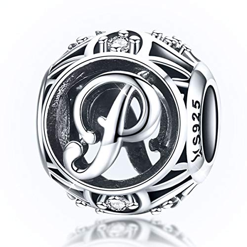 Abalorio con letra del alfabeto, diseño de letra P, compatible con pulseras...