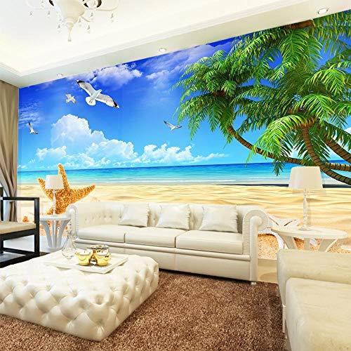 Awttmua 3D Fototapete Mediterrane Dekoration Wandbild Sand Sand Seestern Sofa Tv Hintergrund Wandmalerei Tapete 300cmx210cm