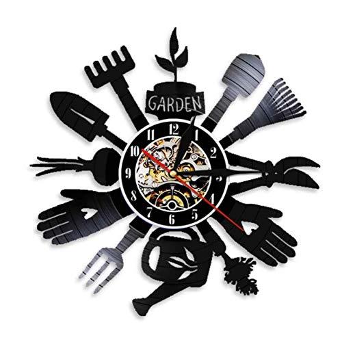 Wanduhr aus Vinyl Gartengeräte Küche Wanddekor Grubber Uhr Gewächshaus Einweihungsparty Geschenk Für Gärtner 12 Zoll Xi127
