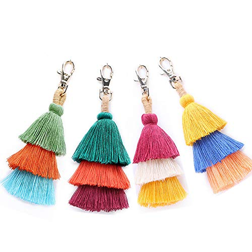 4 Pcs Creative Pendant Ethnic Style Pendant Cotton Tassel Snap Hook for DIY Projects Bookmarks Pendant Decoration