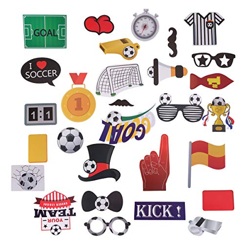 LUOEM 29 Pack Football Photo Booth Props Kit Sports Party Photo Booth Props Football Party Games Ideas for Football Party Decorations Supplies