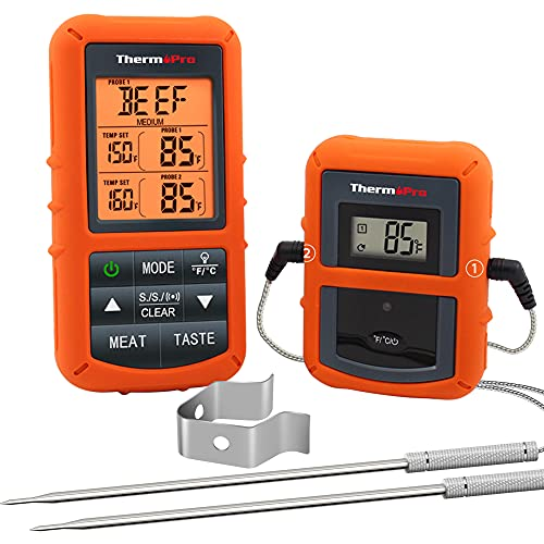 Wireless Remote Digital Cooking Food Meat Thermometer with Dual Probe