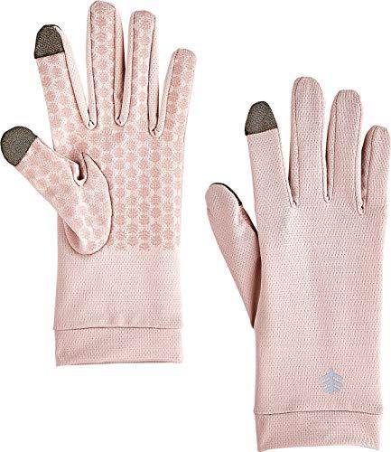 Coolibar UPF 50+ Men's Women's Gannett UV Gloves - Sun Protective (Medium- Petal Pink)