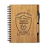 Cuaderno de Notas el Mejor tecnico de emergencias sanitarias del Mundo - Libreta de Madera Natural con Boligrafo Regalo Original Tamaño A5