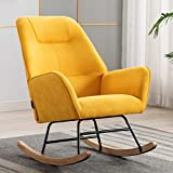 Artechworks Modern Linen Accent Rocking Chair, Comfortable Relax Arm Lounge Chair for Home or Office, Durable Living Room Reading Chair, Yellow