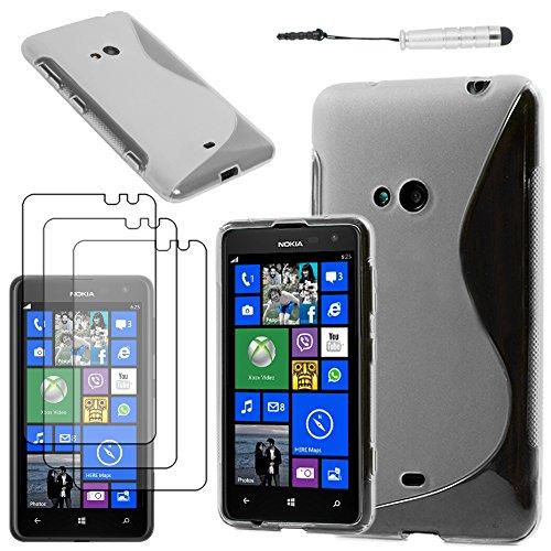 ebestStar - Coque Compatible avec Nokia Lumia 625 Etui Housse Silicone Gel TPU Souple Motif S-Line + Mini Stylet + 3 Films d'écran, Transparent [Appareil: 133.3 x 72.3 x 9.2mm, 4.7'']