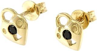 forme di Lucchetta per Donna - Orecchini Lucchetto a forma di Cuore d'Oro Giallo 18 carati con Pietra Nera - Made in Italy...