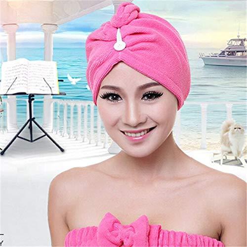 Toalla de baño de microfibra de secado rápido y absorbente suave para mujer, baño mágico, gorro para secar el cabello, toalla de salón, toalla para la cabeza, spa, envoltura de baño, gorras, rosa roja