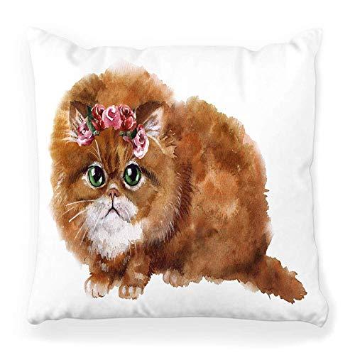 REAlCOOL Funda de almohada cuadrada suave de 45,7 x 45,7 cm, diseño de gato blanco abstracto adorable animal animal bebé negro cepillo canino de dibujos animados gatos