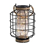 """JHY DESIGN Metal Cage LED Lantern Battery Powered,9.4"""" Tall Cordless Accent Light with 20pcs Fairy Lights.Great for Weddings, Parties, Patio, Events for Indoors/Outdoors."""