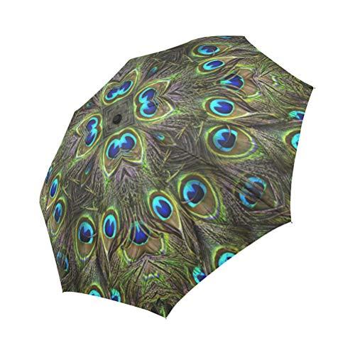 Hipster Peacock Feather Automatic Foldable Umbrella Compact Parasol Umbrella Umbrella Windproof Rainproof