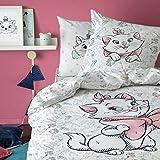 Disney Aristochat Parure de lit Housse de Couette 140X200 + Taie d'oreiller 63X63 Cm 100% Coton Floralie