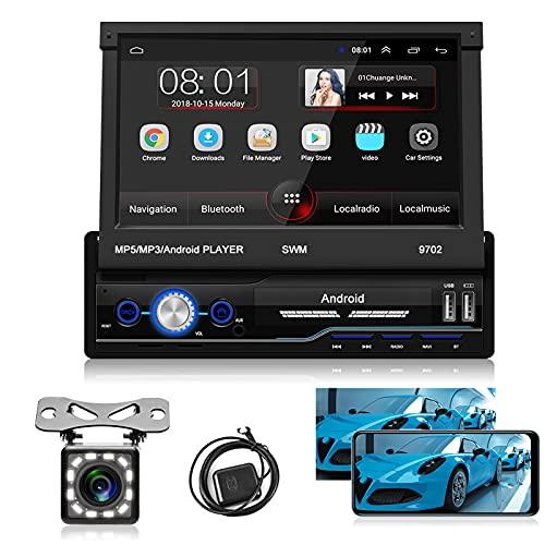 Hodozzy Android Autoradio 1Din 7'' Piega Touchscreen Autoradio Bluetooth Stereo GPS WIFI FM Radio Specchio Collegamento per telefono Android iOS con Telecamera Posteriore