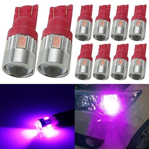 TABEN 194 LED-lampen Roze 5730 Chipsets Projectorlens T10 W5W 168 2825 LED-lampen Vervanging Light Dome Map Courtesy Door Kenteken Gloeilampen (10st)