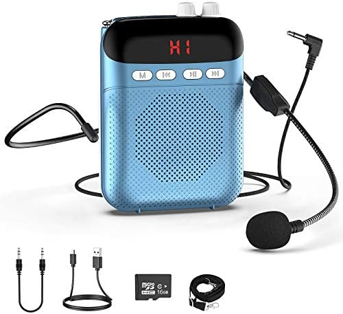Voice Amplifier Portable Rechargeable PA System Speaker with LED Display Wired Microphone Headset product image