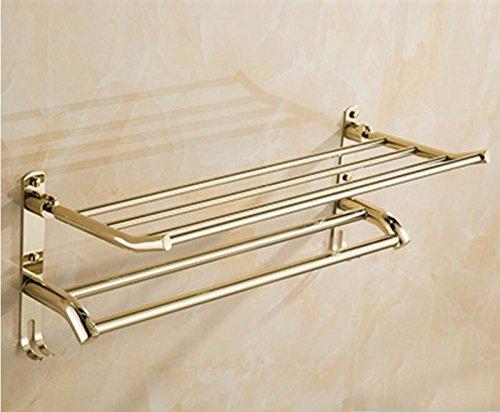 Handdoekhouder voor handdoekdroger, voor wastafels, badkamer, plank, handdoekhouder, roestvrij staal, om op te hangen, verguld, dubbele badstang, goudkleurig, met haak 50 cm