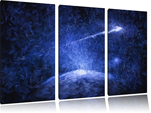 Pixxprint Sternschnuppe fliegt über die Erde / 3-Teilig/Gesamtmaß 120cm Leinwandbild bespannt auf Holzrahmen/Wandbild Kunstdruck Dekoration