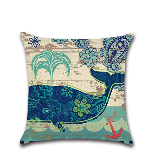 Marine Animal Series Zj-0541 Whale Linen Pillow 45 * 45Cm Seahorse and Turtle Pattern Home Sofa Living Room Decoration Pillow