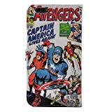 TPACC iPhone 6 Plus Case, iPhone 6S Plus Case - Cartoon Comic Superhero Alliance Pattern Slim Wallet Card Flip Stand Leather Case Cover for iPhone 6 Plus (5.5 inch)