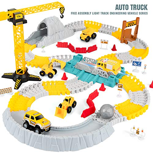 NeatoTek Race Car Track Toy -175 Pieces - Flexible Race Track Building Playset - Industrial Construction Theme with 4 Trucks - STEM Learning Toy for Kids