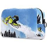 Bolsa de maquillaje multicolor con cremallera bolsa de viaje organizador cosmético para mujeres y niñas motos de nieve 03