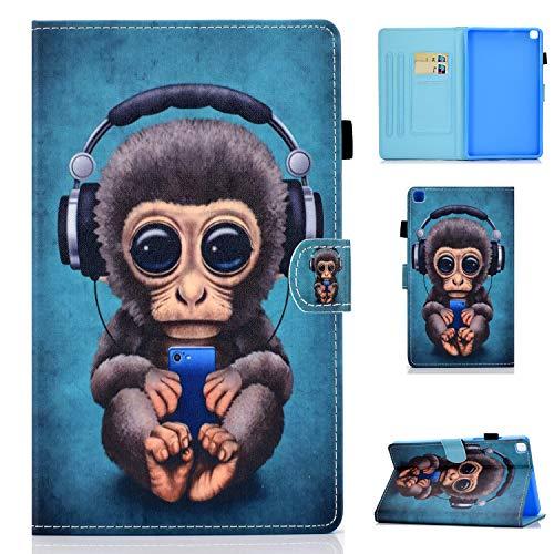 Succtop Custodia per Galaxy Tab A7 10.4 Pollici 2020, Folio Flip PU Custodia Cover Galaxy Tab A7 Portapenne Stand Portafoglio Protettivo Tablet Cover Samsung Galaxy Tab A7 T500/T505/T507, Music Monkey