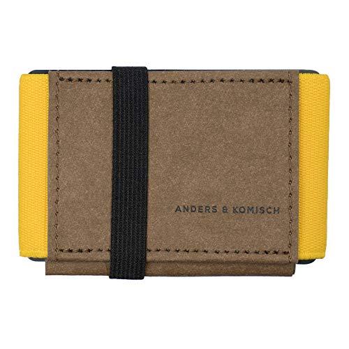 A&K Mini Portemonnaie - smart Wallets. Kleine Geldbörsen mit Münzfach. Kartenetui Damen Kreditkartenetui Männer Made in Germany Braun/Gelb